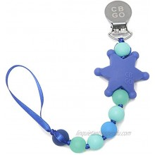 Chewbeads Pacifier Clip 100% Silicone Pacifier Clip & Locater Sheriff's Badge Glow in The Dark