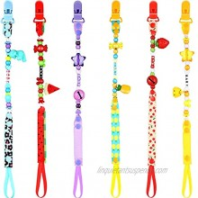 Nuanchu 6 Pieces Teething Pacifier Clip Teething Beads Pacifier Holder Teething Toys fits for Boys Girls 6 Styles