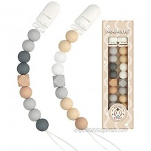 Pacifier Clip for Baby Boys Girls Paci Holder Silicone Teething Beads Teether Toys Soothie Binky Clips 2 Pack Grey Beige