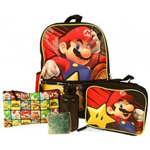 Kids Super Mario Backpack with Lunch Bag Set for Boys & Girls 16 inch 5 Piece Value Set