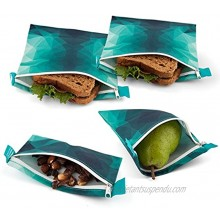 Nordic By Nature 4 Pack Reusable Sandwich Bags Dishwasher Safe BPA Free Durable Washable Quick Dry Cloth Baggies -Reusable Snack Bags For Kids School Lunches Easy Open Zipper Turquoise