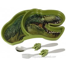 Kids Divided Plate with Utensils Children's Meal Set with Plate Fork and Spoon T Rex