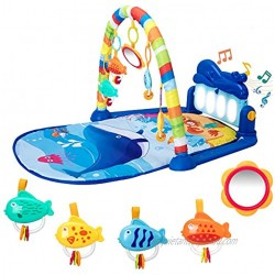 Baby Play Mat Baby Gym Kick and Play Piano Tummy Time Baby Activity Gym Mat with 5 Infant Learning Sensory Baby Toys Music and Lights Boy & Girl Gifts for Newborn Baby 0 to 3 6 9 12 Months