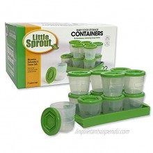Baby Food Storage Containers w Write What You Want Lids 12 Pk- 2oz Reusable Stackable Leakproof Plastic Jars- Freezer Microwave & Dishwasher Safe- BPA PVC Free- Green