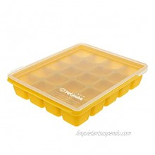 Petinube Silicone Cubes for Baby Food Storage Silicone Baby Food Freezer Tray with Clip-On Lid Freezer Storage with Lid for Baby Food Easy and Safe Design Mustard 20 Cubes 0.4oz portions