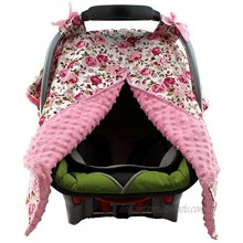 Dear Baby Gear Baby Car Seat Canopy Cover Vintage Floral Pink on White Pink Minky