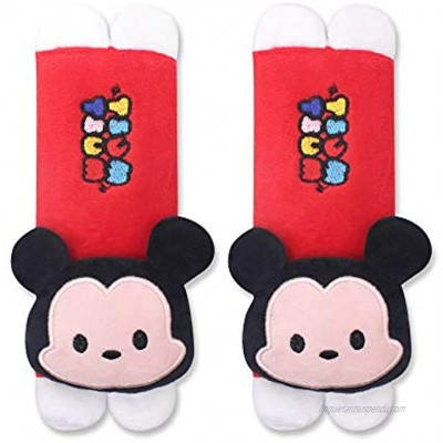 Finex Set of 2 Mickey Minnie Plush Car Seat Belt Strap Covers Shoulder Cushion Pad Red Mickey Mouse