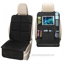 Car Seat Protector Back Seat Organizer with 10.5inch Tablet Holder 5 Pocket Storage Car Seat Back Organizer Kick Mat Protector Travel Accessories Organizer