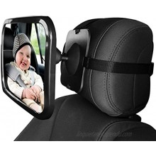 Baby Car Mirror 2 Pack Large Safety Car Seat Mirror Baby Car Seat Mirror for Rear Facing Infant Child with Wide Crystal Clear View Rear View Mirror to See Rear Facing Infants Babies Kids