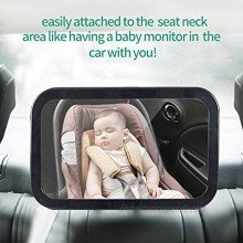 Baby car mirror,War Horse Car Back Seat Mirror-View Infant Toddler in Back Seat Shatterproof Safety Rear View Backseat Mirror 360 Rotatable