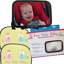 Fun Safe Baby Safety and Comfort Pack Backseat Mirror for Rear Facing Car Seat and 2 Sunshades