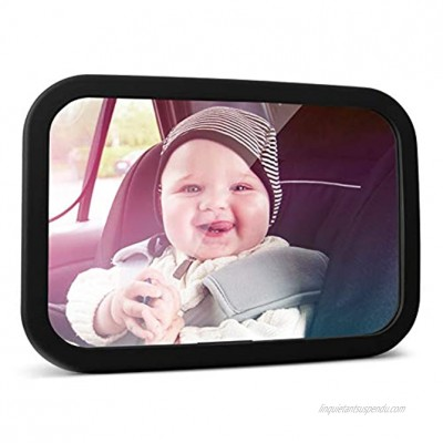 MYSBIKER Baby Backseat Mirror,360°Rotation and Shatterproof,Rear View Baby Kids Car Mirror with Dual Adjustable Straps,Clear View Ensure Your Baby is Safe in Car Black
