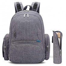 CoolBELL Diaper Backpack With Insulated Pockets Large Size Water-resistant Bag Multi-functional Travel Knapsack Include Pad Grey