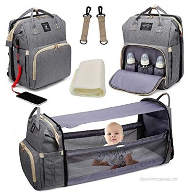 Diaper Bag Backpack Baby Nappy Changing Bags Multifunctional Travel Backpack with Changing Station Large Capacity Waterproof Sunshade,Built-in USB Charging Port and Stylish Grey