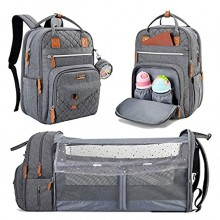 Lekebaby Diaper Bag Backpack with Changing Station 3 in 1 Baby Diaper Bag with Travel Crib and Stroller Straps for Mom Large Capacity Grey