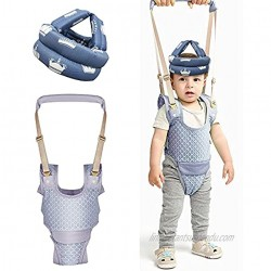 Baby Walking Harness and Safety Helmet,Baby Walker Toddler Walking Assistant,Adjustable Handheld Stand Up and Walking Learning Leash Kids Safety Breathable Walking Harness Walker for Baby 7-24 Months