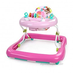 Bright Starts Floral Friends Walker with Easy Fold Frame for Storage Ages 6 Months Plus