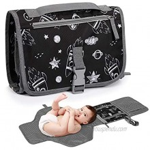 TILLYOU Portable Changing Pad Baby Travel Changing Pad for Diaper Bag Diaper Changing Mat with Foam Head Pillow and Extra Pockets Baby Stuff for Newborn Baby Shower Gifts Star Rocket