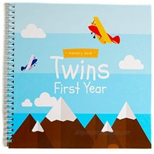 Twins First Year Hardcover Memory Book Airplanes Edition | Newborn Babies 1st Year Journal And Milestones Photo Album | Perfect and Unique Gift Idea for Baby Showers and Birthday Presents