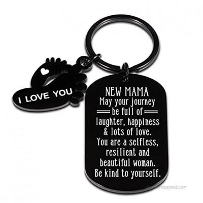 New Mom Keychain Pregnant Mom Gifts for First Time Mom to be New Mama Pregnancy Baby Announcement Gifts for Women Expecting New Mommy Mothers Day Christmas Baby Shower Gifts Baby Footprints Keyring
