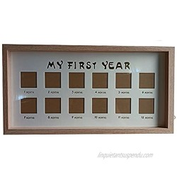 Baby's First Year Picture Frame Wood Baby Picture Frame First Year by 12 Month Personalized Newborn Keepsake Frame for Photo Memories 9 x 17 Inches