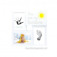Tiny Ideas Baby Prints Collage Keepsake Frame with Included Ink Pad You are My Sunshine White Black