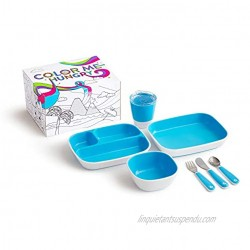 Munchkin Color Me Hungry Splash 7pc Toddler Dining Set – Plate Bowl Cup and Utensils in a Gift Box Blue