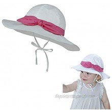 Baby Girls Sun Hat with Bow,Flower Print Solid Color Bucket Hat Wide Brim for Newborn Infants Toddlers