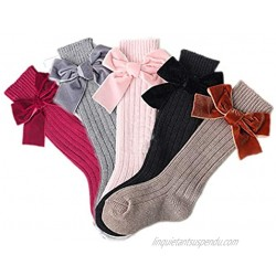 Colorful Childhood Baby Girls Adorable Velvet Bowknot Socks Infant Knitted Cotton Warm Knee High Booties Socks Xmas 5 pairs
