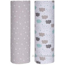 Cuddles & Cribs Baby Receiving Blankets – 100% Cotton Flannel Receiving Blankets Clouds & Sparkles Pack of 2-30 x 30 Inch