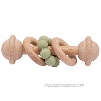 Wooden Baby Rattle Silicone Beads Ring Grasping Toys for Babies Toddlers Matcha Green
